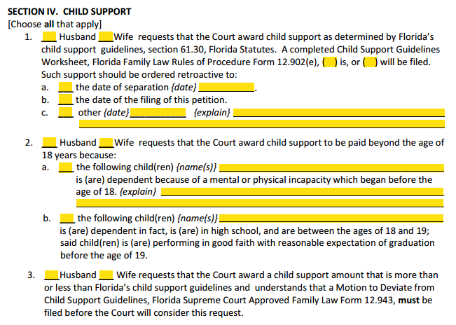 DOM With Children Section 4 Child Support