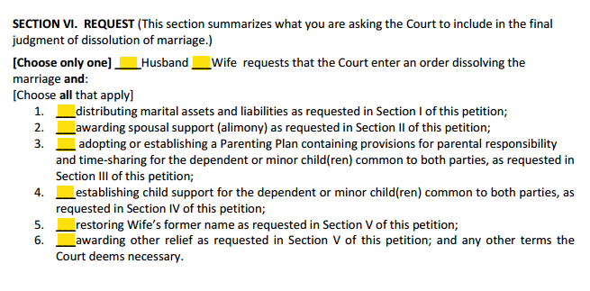 DOM With Children Section 6 Request Summary