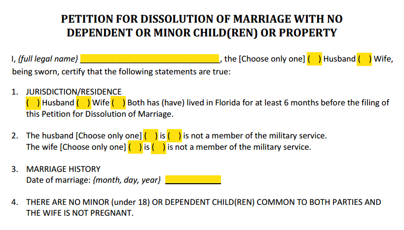 Petition for Dissolution of Marriage With Property But No Dependent or Minor Children Paragraphs 1 to 4