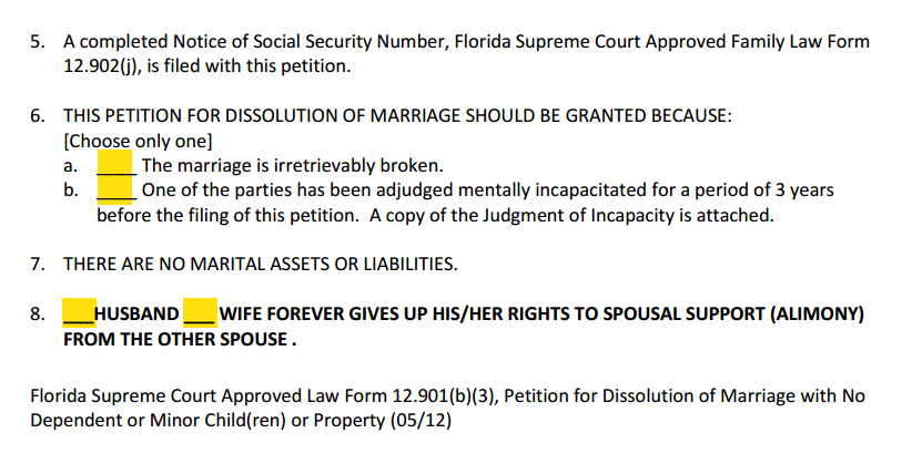 Petition for Dissolution of Marriage With Property But No Dependent or Minor Children Paragraphs 5 to 8