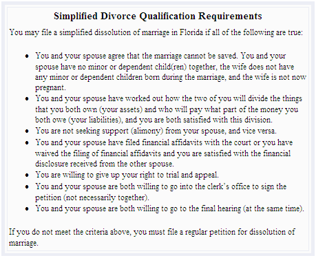 Florida Simplified Divorce Requirements